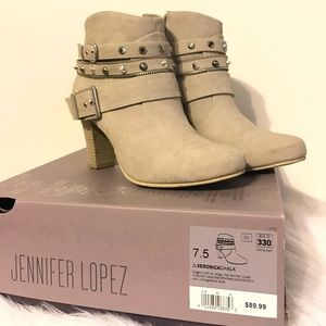 Jennifer Lopez booties with buckles